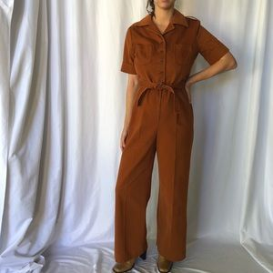 VINTAGE 70's jumpsuit brushed burnt orange cotton